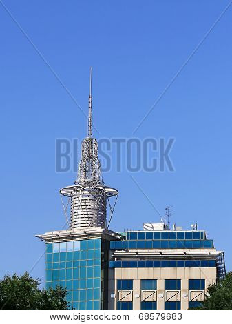Antenna On The Roof Of The Building