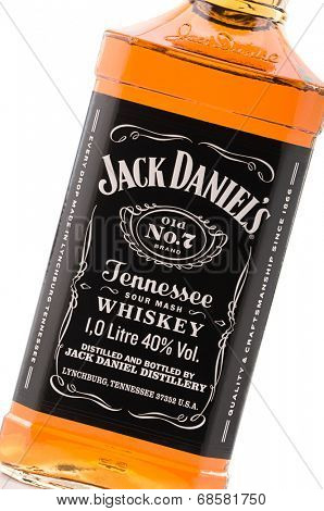 Ankara, Turkey - June 02, 2012: Close up of bottle of Jack Daniels bourbon whiskey isolated on white background.