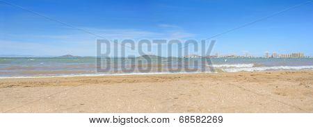 European sandy beach and sea