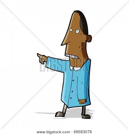 cartoon ugly man pointing