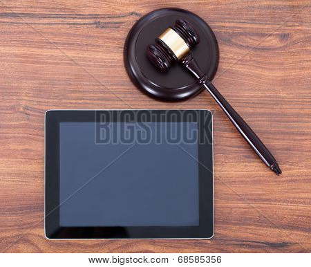 Judge Mallet On Block By Digital Tablet