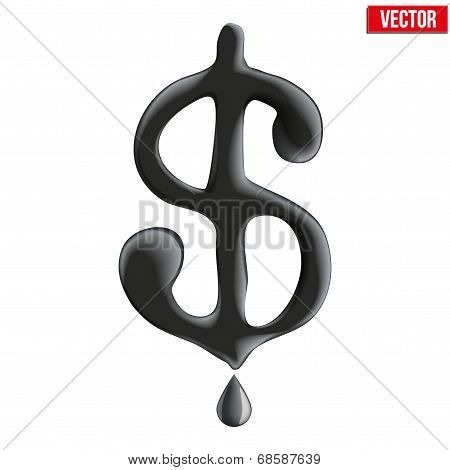 Currency dollar in oil texture