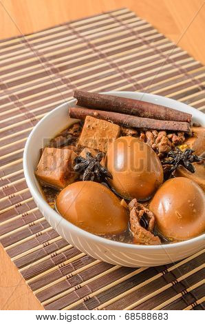 Eggs,tofu And Pork In Five Spices Brown Sauce