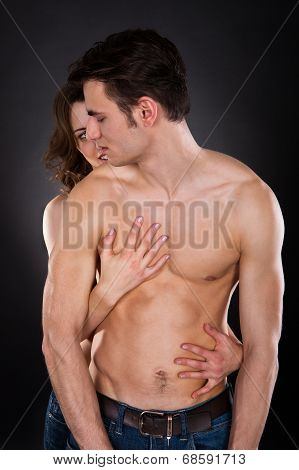 Woman Embracing Passionate Man