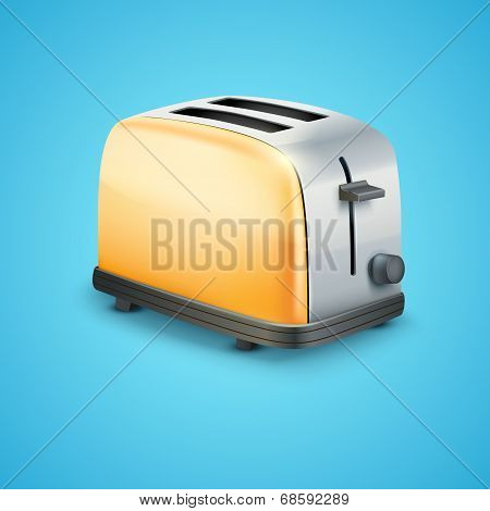 Bright Metal toaster. Vector Background