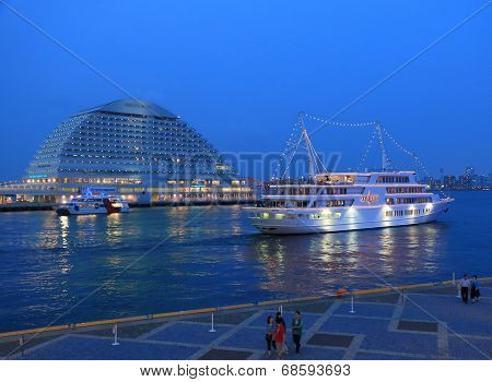Kobe Harbour night view and cruise ship.