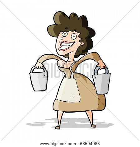 cartoon milkmaid carrying buckets
