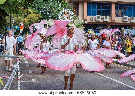Victoria, Seychelles - April 26, 2014:  At The Carnival International De Victoria In Seychelles