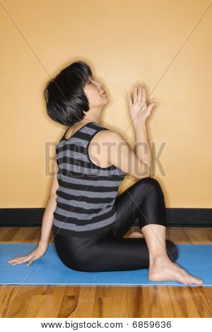 Woman Doing Yoga At Gym