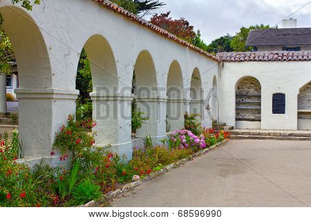 Public Garden With Adobe Arched Walls