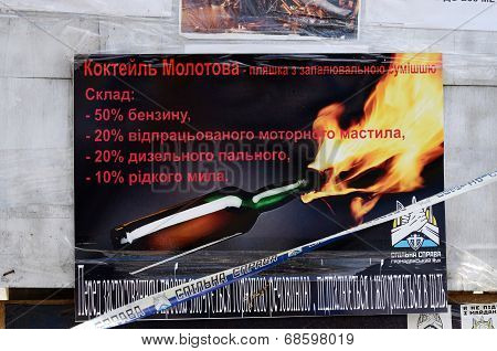 Poster saying how to create rebel's weapon Molotov cocktail ,Kiev,Ukraine