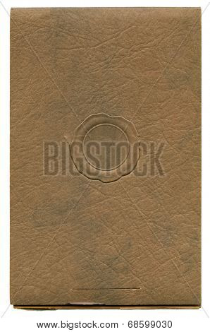 Antique paper photograph cover background with faux wax seal