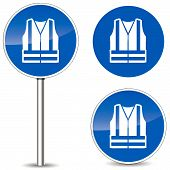 stock photo of vest  - Vector illustration of safety vest blue sign icons - JPG