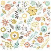 image of single  - Hand Drawn single Flowers Background  - JPG