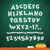 picture of grammar  - Cartoon Chalk Vector Font on Green School Board - JPG