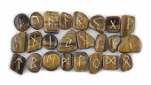 stock photo of rune  - Full Set of Rune Stones carved in Tiger - JPG