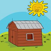 image of over counter  - Smiling sun over barn with open window and counter - JPG