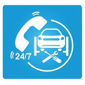 stock photo of car symbol  - car repair service symbol in blue square button - JPG