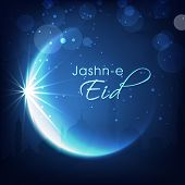 stock photo of eid festival celebration  - Shiny crescent moon on blue background for muslim community festival Jashn - JPG