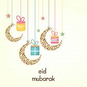 picture of eid festival celebration  - Muslim community festival Eid Mubarak celebrations with hanging moons and gift boxes on white background - JPG