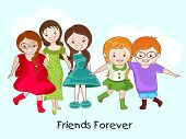 pic of  friends forever  - Cute little girls group on blue background with stylish text Friends Forever - JPG