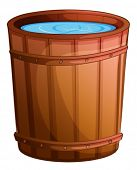stock photo of bucket  - Illustration of a big bucket of water on a white background - JPG