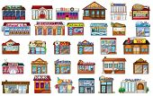 pic of locksmith  - Illustration of the different buildings on a white background - JPG