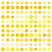 picture of hot-weather  - Big set of different yellow orange and red sun isolated on white background design element - JPG