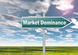 stock photo of dominate  - Signpost Image Graphic with Market Dominance wording - JPG