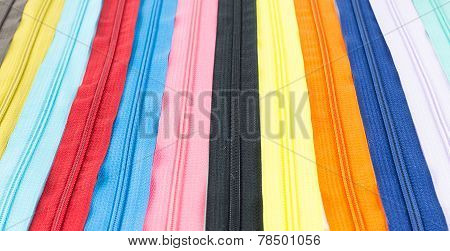 Colorful Zipper Arrange As Background
