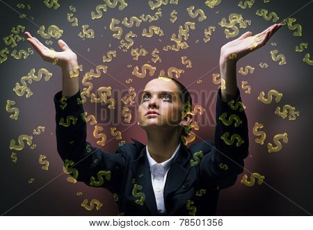 Young businesswoman in tears praying at dollar symbol