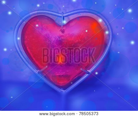 Abstract Red Hart On Blue Background