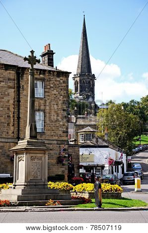 Bakewell war memorial and church spire.