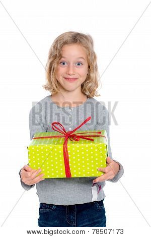 Grining Girl With Present
