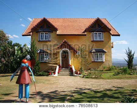 Yellow house in Pai, Maehongson province, Thailand.