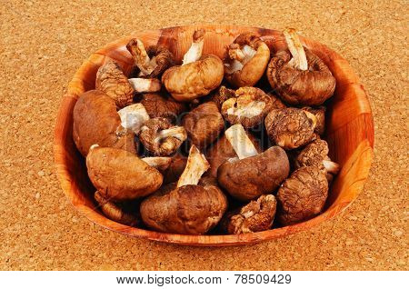 Raw Shiitake mushrooms.