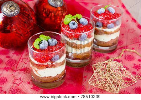 Christmas Dessert. Sweet Dessert Tiramisu With Strawberry, Fresh Blueberry And Basil Creme