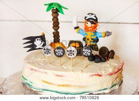 Homemade Pirate Rainbow Cake For Kid Birthday