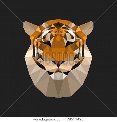Geometric polygon tiger illustration