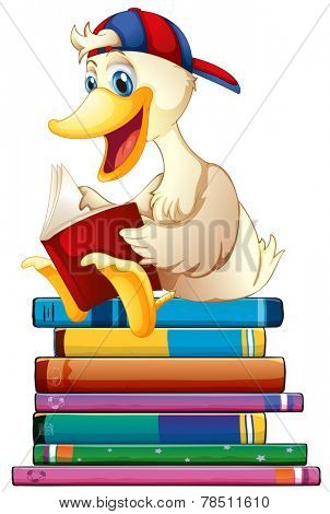 Illustration of a duck reading books