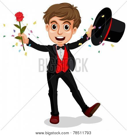 Illustration of a magician doing a performance