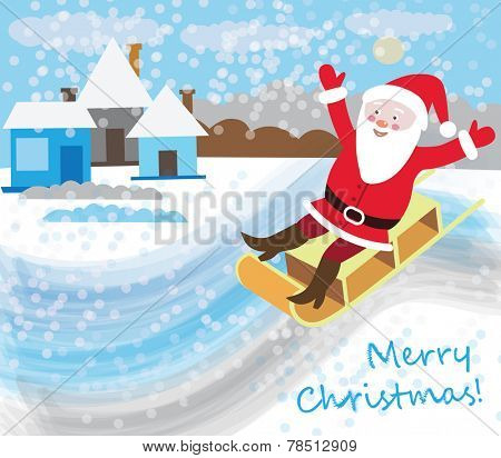 Santa Claus in a sleigh with rolling hills (Christmas card)