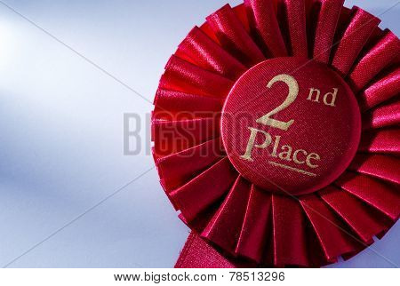 2Nd Place Winners Rosette In Red Ribbon
