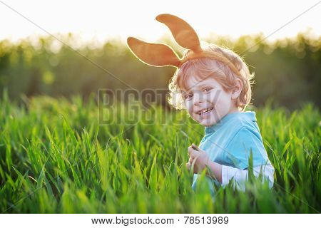 Funny Boy Of 3 Years With Easter Bunny Ears, Celebrating Easter Holiday