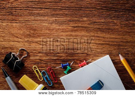 Office Supplies On Table With Copy Space On Top