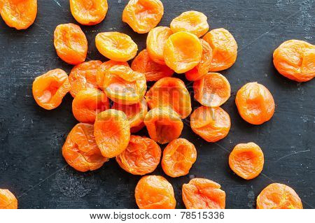 Dried Apricots On Black Background