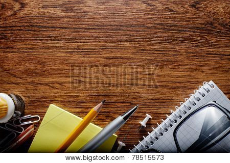 Office Or School Stuffs On Table With Text Area