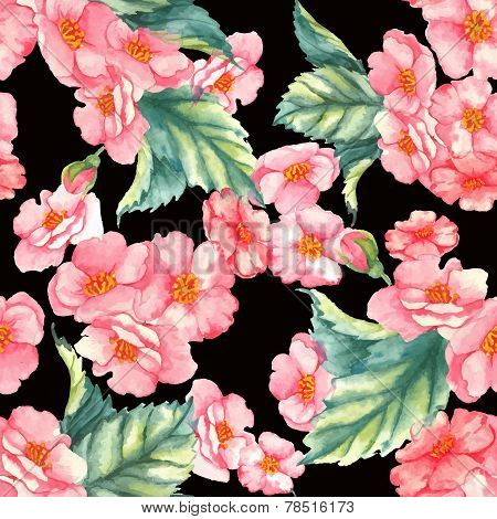 Beautiful watercolor seamless pattern with tender pink brier flowers and leaves on the black backgro
