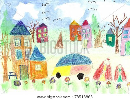 Watercolor Children Drawing Kids Walking