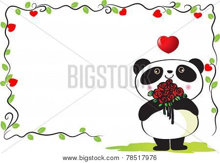 panda with border frame